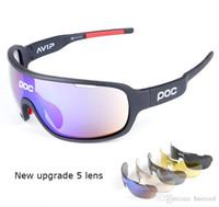 Wholesale Sunglasses Polarized Sport Running - 9 Colors Fashion New Sun Glasses 5 Lens Brand 2017 Polarized POCs Sunglasses For Men Women Sport Cycling Bicycle Running TR90 Sunglasses