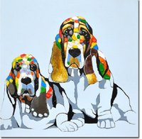 Wholesale Colourful Paintings - Colourful Cartoon Animal Cute Funny Dog,High Quality genuine Hand Painted Wall Decor Abstract Animal Art Oil Painting On Canvas ali-FREECLO