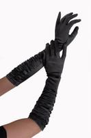 gants blancs à volants achat en gros de-Sexy gants de satin noir rouge blanc couleur à volants gants de mariée opera longueur costume de mode accessoire dames gants élégants à long