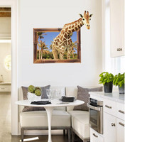 Wholesale windows live tv online - Giraffe SK9139 D simulation false window TV background decorative painting PVC Green Wall Stickers