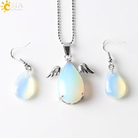 Wholesale Tear Drop Statement Necklace - CSJA Angel Wing Water Tear Drop Pendant Charms Statement Necklace Copper Hook Earrings Christmas Birthday Easter Jewelry Set Girls Gift E391