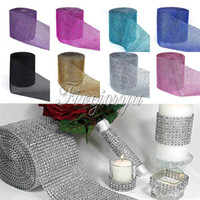 Atacado- 10Yard x 12cm Wide Multicolor Crystal Diamond Mesh Rhinestone Ribbon para Wedding Party Gift Vase Decoração Floral