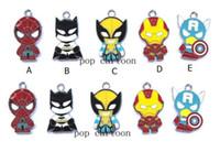 Wholesale Spiderman Charms - New Cartoon Superhero Spiderman Batman Iron Man Charm Pendants DIY Jewelry Makin T-029