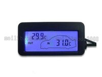 Wholesale Industrial Hygrometer - Mni Digital Car Thermometer Black DC 12V Car Inside Outside Thermometer Blue Backlit With 1.5M Cable Sensor FREE SHIPPING MYY
