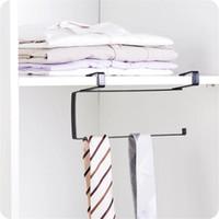 Wholesale Towel Racks For Bathrooms - 2Pcs lot Under Cupboard Unit Shelf Kitchen Metal Paper Towel Roll Holder Hook Hanger Storage Rack for Kitchen,Bedroom,Bathroom