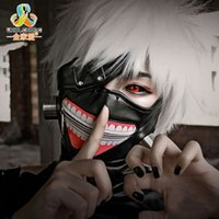 máscara de zíper de couro venda por atacado-Alta Qualidade Clearance Tokyo Ghoul 2 Máscara Kaneki Ken Máscaras de Zíper Ajustável PU de Couro Máscara Legal Blinder Anime Cosplay