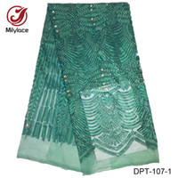 Wholesale Lace Fabric Dress Yard - Free shipping embroidery 5 yards per lot French lace fabric with stones nigerian African lace fabric for india bridal wedding dress DPT-107