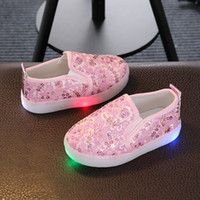 Wholesale Sequin Shoes For Girls - Free Shipping New Fashion Net Surface Sequins Lights LED Shoes For kids Girls Flat Platform Rubber Elastic Band 21-30 3 Colors Toddler Shoes
