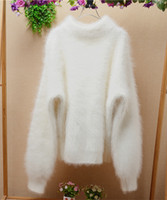 Wholesale Korean Long Hair Styles - Korean style autumn and winter white thicken loose long hair fluffy angora rabbit fur half-sleeeves pullover sweater women cashmere sweater
