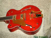 Wholesale Hollow Falcon - Left Handed Guitars Orange Flame Top Hollow Falcon Jazz Guitar New Arrival OEM Cheap
