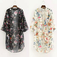 Wholesale vintage cardigan xl - Women New Floral printed Chiffon Shirts Casual Blouse Vintage kimono Cardigan Plus Size Long Shirt