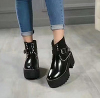 Wholesale Boots Celebrities - 2017 New Fashion Women Ankle Boots Patchwork Round Toe Flats Women Winter Boots Celebrity Motorcycle Luxury Shoes genuine leather shoes L26