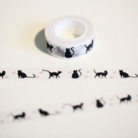 2016 1 Pc / Pack Nouveau 15 Mm * 10m Cartoon Black Cat Print Japonais Papier Washi Tapes Masking Tape Decorative Adhesive Tapes