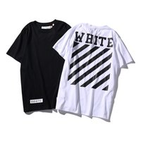 Wholesale Basic White Tee - Brand Clothing T Shirt Men Off White virgil abloh 2017 Summer Classic Letter Basic Stripe Print Cotton T-shirt Tee Men Tshirt