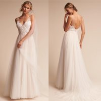 Wholesale White Reception Dress Lace - Newest BHLDN Ivory Lace Tulle Beach Wedding Dresses A Line V Neck Pleats Long Summer Bridal Gowns Wedding Reception Dress