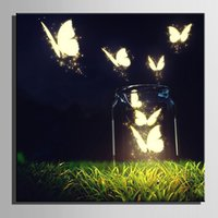 Wholesale Art Framed Mirrored Frames - Led Butterfly Light Framed Oil Paintings Flashing Optical Fiber Prints Stretched LED Canvas Print One Pcs For Home Bedroom Wall Art