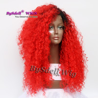 Wholesale Red Hair Lace Front Wigs - Synthetic Scarlet Color Wig Mermaid Bright Red Color Afro Fluffy Kinky Curly Hair Lace Front Wig New Trendy Hair Color for 2017