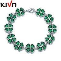 Wholesale Lucky Leaf Clover Bracelets - KIVN Womens Fashion Jewelry Lucky Four Leaf Clover Green CZ Cubic Zirconia Bridal bracelets Mothers Birthday Christmas Gifts