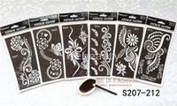 Wholesale wholesale airbrush tattoo kits - Wholesale-6pcs lo Mehndi Indian Henna Tattoo Stencil reuseable Henna Tatoo Template Professional Tattoos Stencils For hand Painting bride