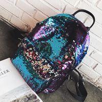 sırt çantaları koreası toptan satış-Sequins Sırt Çantası Genç Öğrenci Kişilik Okul Çantaları Kızlar Için Kore Tarzı Moda Kadınlar Için Sokak Çantaları Seyahat