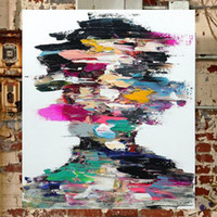 Wholesale Canvas Oil Colors - KGTECH Contemporary Artwork on Canvas Modern Abstract Portrait Painting Multi Colors Artwork Wall Decorations Handpainted 24x36Hinch