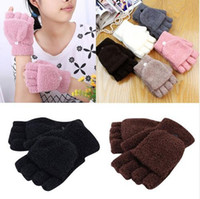 Wholesale Winter Warm Knit Gloves White - Winter Warm Men Women Gloves Cute Half Finger Turn Over Flip Knitted Mittens Hot Sale 6 Colors Gloves Without Fingers TO 92