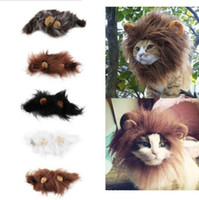 Wholesale Ear Lion Head - Pet Cat Dog Emulation Lion Hair Mane Ears Head Cap Autumn Winter Dress Up Costume Muffler Scarf decoration cosplay wn214
