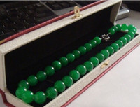 "Wholesale Natural Amber Necklaces - 18""ELEGANT HUGE 12MM NATURAL CIRCULAR AAA+++ GREEN JADE NECKLACE AAA"