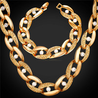 Wholesale 14mm Men Bracelet - U7 Rhinestone Choker Necklace Bracelet for Women Men Jewelry 18cm 14MM Width Trendy Gold Platinum Plated Chunky Chains Perfect Accessories