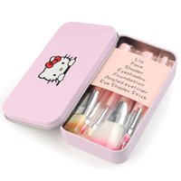 Wholesale Selling Wholesale Make Up - Hot Selling Hello Kitty Make Up Cosmetic Brush Kit Makeup Brushes Pink Iron Case Toiletry Beauty Appliances Cute Mini Case 7pcs set