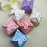 Wholesale Butterfly Laser Box - Butterfly Wed Favor Box Laser Cut Candy Gift Boxes Wedding Party Box Favor Party Candy Box Wedding Favors