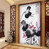 Wholesale Chinese Ink Paintings Lotus - large Custom wall Mural Wallpaper Lotus Ink painting Living Sofa TV Background Restaurant home decor Wallpaper Custom any Size