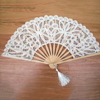 Wholesale Handmade Fans For Party - Handmade Cotton Lace Hand Held Fan For Party Bridal Fashion Fan Tulle Summer Wedding Decoration Birthday Party Wedding Fans
