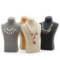 collar de maniquíes al por mayor-Soporte de Collar de moda Maniquí Exhibición Colgantes de Joyería Titular de la Joyería Modelo Decoración Del Hogar Cuello Busto Estante de Exhibición