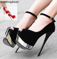 balo topuk kayışları toptan satış-16cm Ultra Yüksek Topuklar Siyah Kırmızı Sentetik Süet Ayak bileği Kayış Süper Platformu 39'a Prom Night Club Ayakkabı Boyutu 34 Pompaları