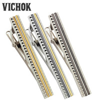Wholesale Tie Clip Prices - 316L Stainless Steel Tie Clips Brown Gold Brown&Gold 3Styles For Men Clothing Accessories Promotion Price Business Wedding VICHOK
