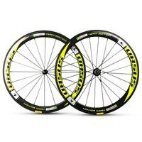 ingrosso ruote ciclo giallo-Bici da strada 50mm URSUS team eoition ruote full carbon in fibra di carbonio giallo ruote con ruote motrici R13 / R36 / R36 / mozzi novatec 271/291