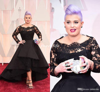 Wholesale Long Sleeved Satin Prom Dresses - 2016 Oscar Kelly Osbourne Celebrity Dress Long Sleeved Lace Scallop Black High Low Red Carpet Sheer Evening Dresses Party Ball Gown Cheap