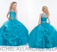 Wholesale Dresess Girls - RACHEL ALLAN 2017 New Girl'S Pageant Dresses Beaded Top Tulle Floor Length Little Flower Girl Dresses Pageant Girl's Dresess HY00754