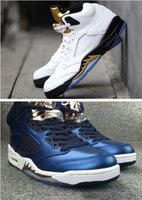 Wholesale Metallic Tables - 2017 air retro 5 V Olympic OG metallic Gold Tongue Men Basketball Shoes Black Metallic Space jam Fire Red Mark Ballas Sport Sneakers