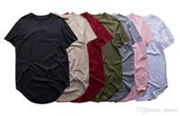 Wholesale Blank Cotton Short Sleeve Shirt - Fashion High quality Kanye West Extended T-Shirt Men Summer Curved Hem Longline Hip Hop Tshirts Urban Blank Mens Tee Shirts