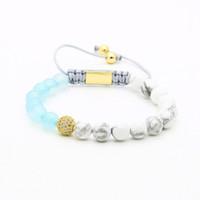 ingrosso pietre naturali agata blu-Monili delle donne all'ingrosso 10 pz / lotto 8mm agata blu naturale bianco howlite marmo pietra quattro colori perline cz braccialetti macrame