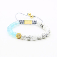 Wholesale clear beads wholesale - Womens Jewelry Wholesale 10pcs lot 8mm Natural Blue Agate & White Howlite Marble Stone Four Colors Clear Cz Beads Macrame Bracelets