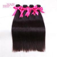 Wholesale Malaysian Weave Uk - 4Pcs Brazilian Straight Hair Weave Brazilian Peruvian Malaysian Indian Virgin Hair Straight 100% Unprocessed Human Hair Weft Extensions Uk