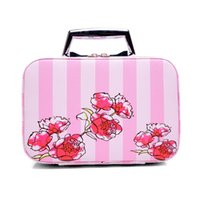 2017 Korean Travel Cosmetics Organizer Rose Stripe Maquiagem Casos Pu Leather Maquiagem Box Professional Beauty Make Up Cases Bag