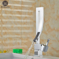 Wholesale Unique Bathrooms - Wholesale- Unique Desing Single Handle Waterfall Basin Faucet Tap Deck Mounted Brass Hot and Cold Bathroom Faucet