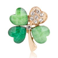 Wholesale Clover Brooch Pin - Wholesale- 12 Pcs a Lot Gold Plated Four Leaf Clover Rhinestones Brooch For Women Wedding Bouquets Collar Clip Scarf Buckle Hijab Pins