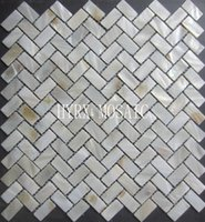 Wholesale Natural white color herringbone pattern natural freshwater shell mosaic tile for wall decoration