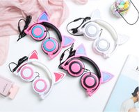 Wholesale Designers Headphones - Fashion Cat Ear Designer Wired Headset Gaming Music Headphones Subwoofer Headphone 3.5MM Sport Earphone for Mobile Phone