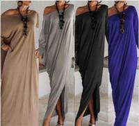 kadınlar için bahar moda elbisesi toptan satış-İlkbahar Yaz Kadın Giyim Moda Elbise Uzun Kollu Maxi Elbise Düzensiz Artı Boyutu Boy Gevşek Elbiseler M050